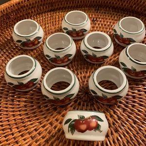 Set of 10 Ceramic Napkins Rings Apple Theme
